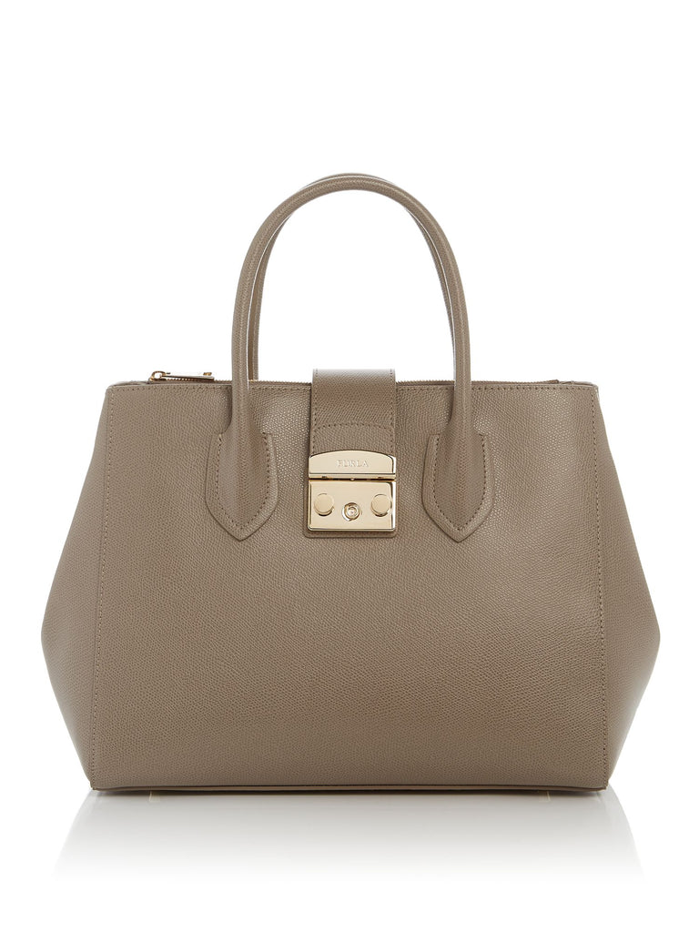 Furla Metropolis Top Clasp Medium Tote- Grey
