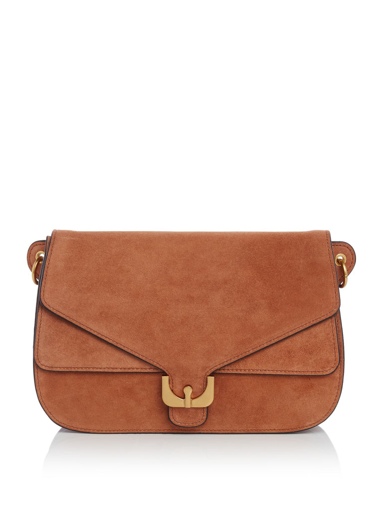 Coccinelle Ambrine suede medium cross body bag- Tan