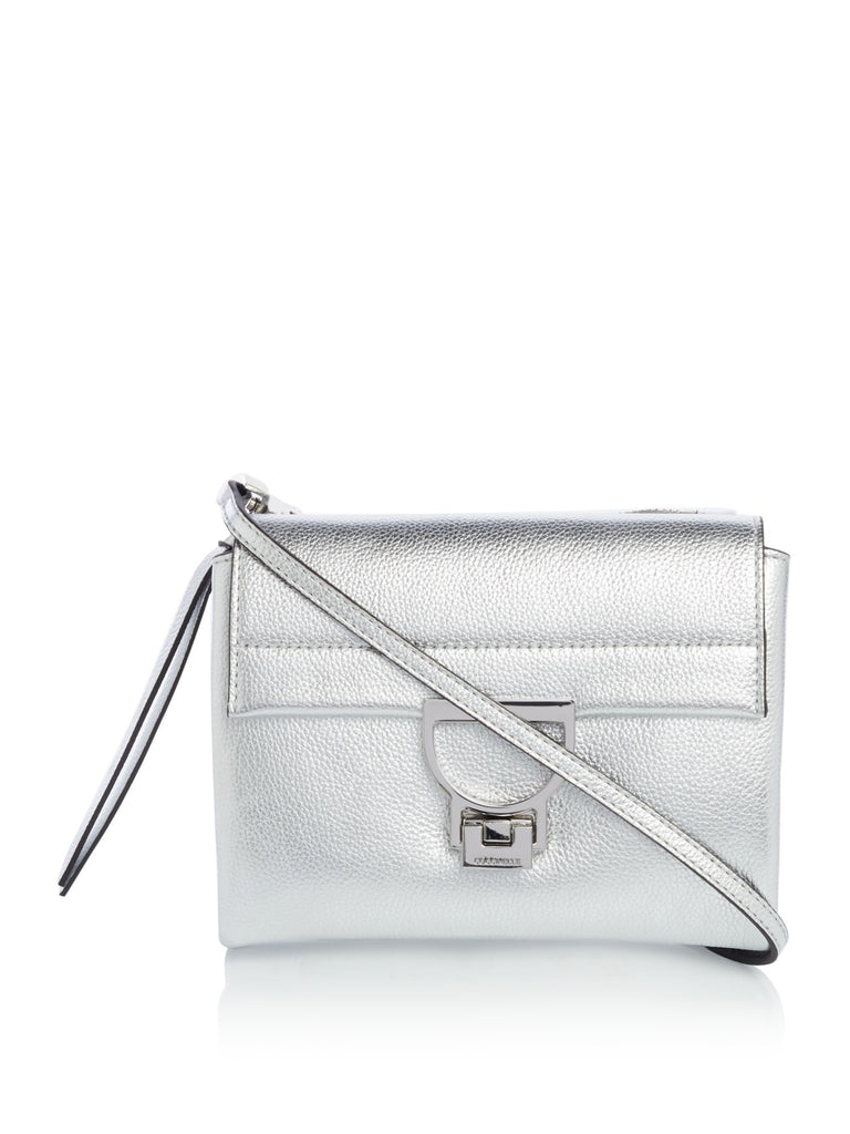 Coccinelle Arlettis pebble small flap over cross body bag- Silver