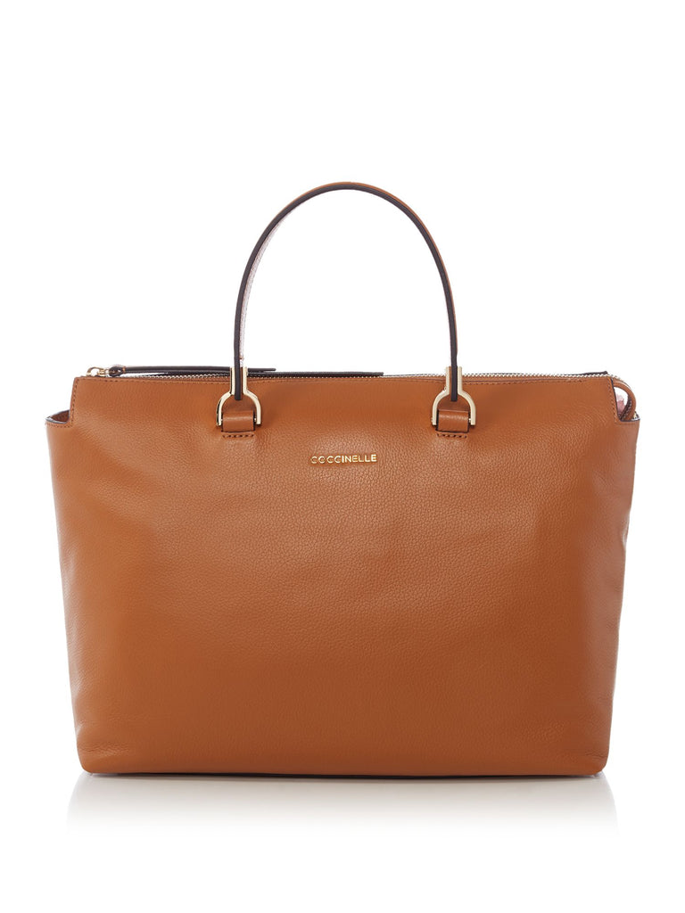 Coccinelle Keyla soft leather satchel with strap- Tan
