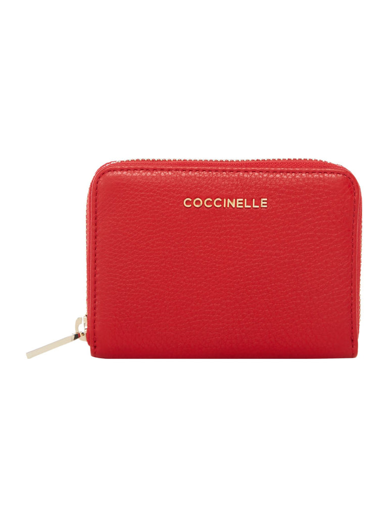 Coccinelle Metallic soft leather small zip around- Red