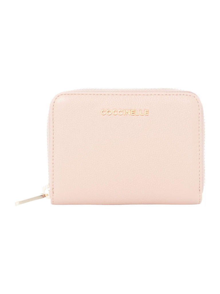 Coccinelle Metallic soft leather small zip around- Pink