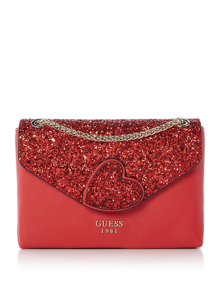 Guess Ever After Flap Crossbody Bag- Red