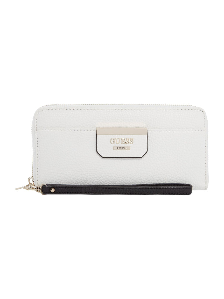Guess Bobbi Slim Zip Around Purse- White