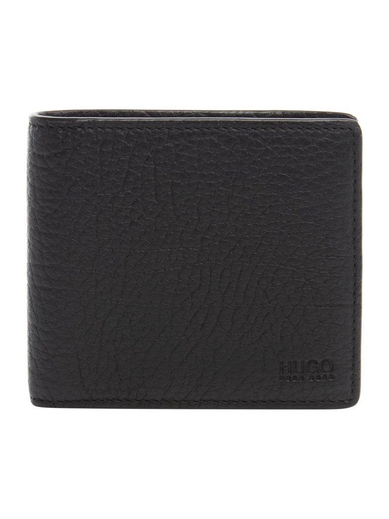 Hugo Boss Hugo Victorian Grainy Leather Billfold Wallet- Black