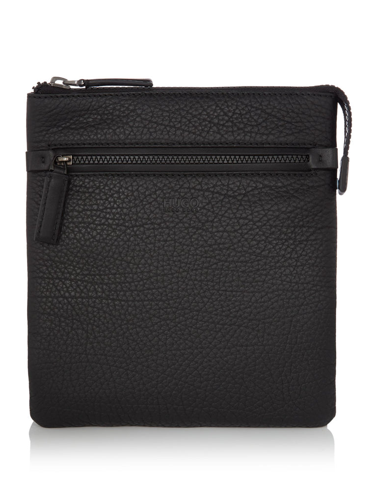 Hugo Boss Victorian Soft Grain Leather Crossbody Bag- Black