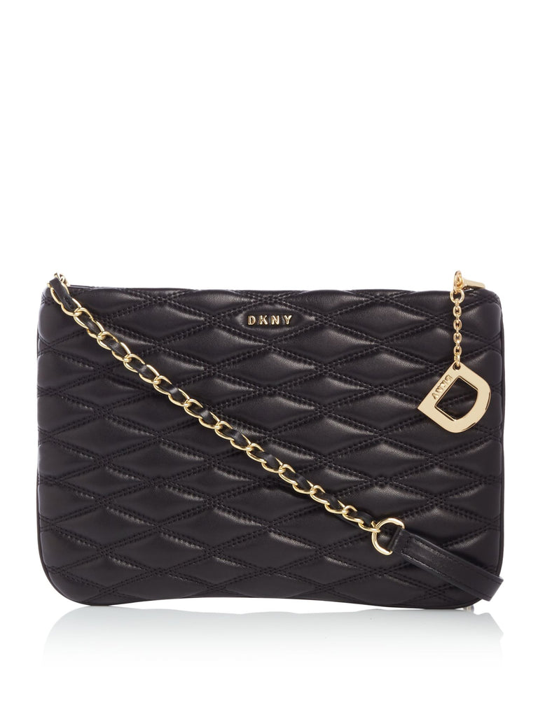 DKNY Diamond quilted top zip cross body bag- Black