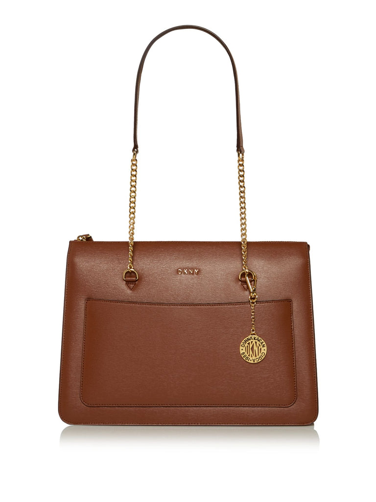 DKNY Sutton Chain Top Zip Tote- Brown