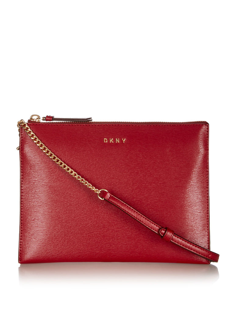 DKNY Sutton Chain Flat Top Zip Cross Body Bag- Red