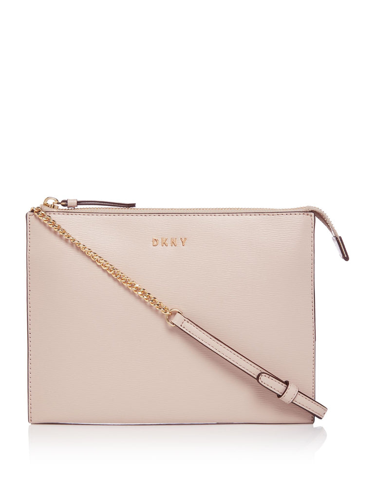 DKNY Sutton Chain Flat Top Zip Cross Body Bag- Pink