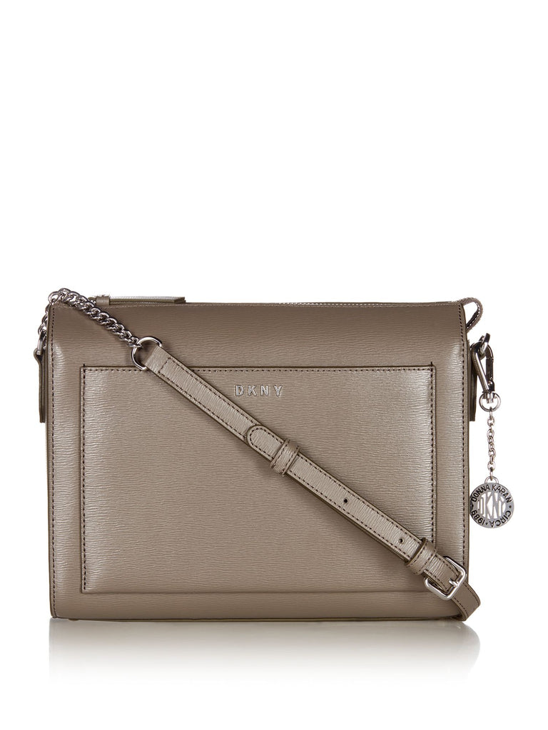 DKNY Sutton Chain Medium Boxy Cross Body Bag- Grey