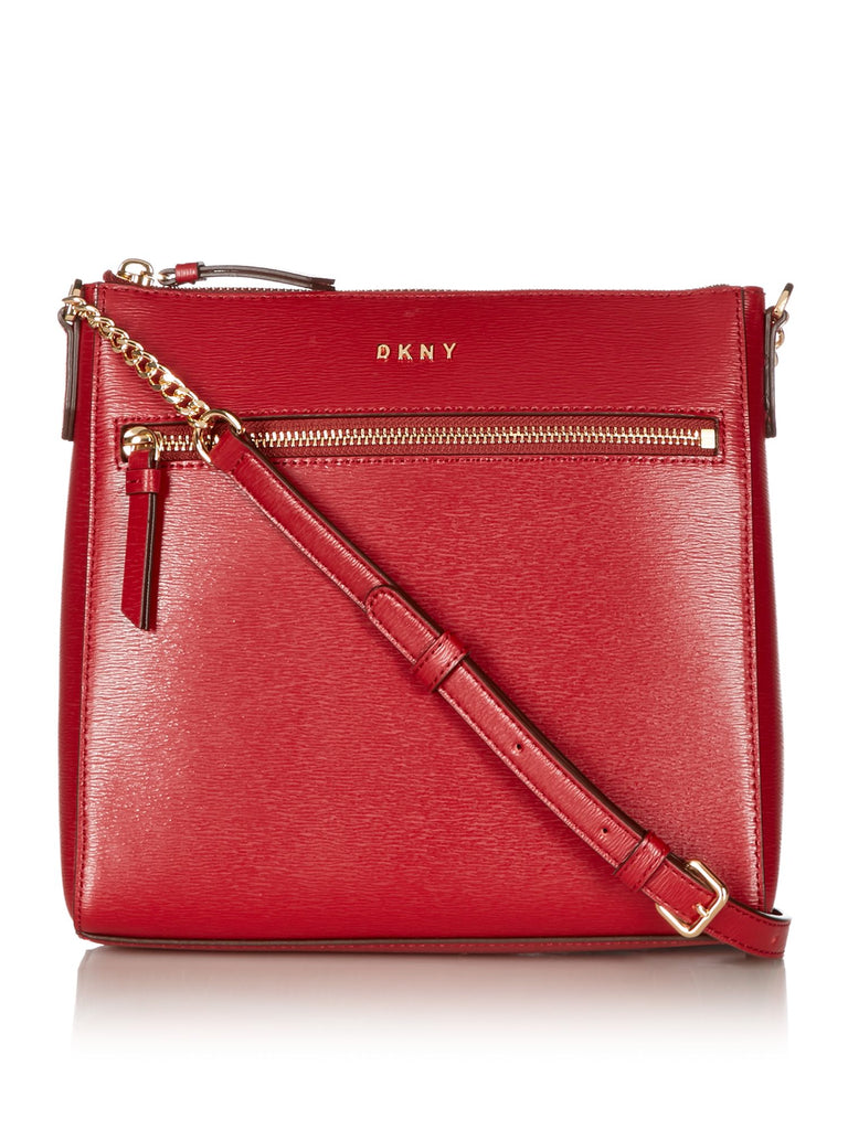 DKNY Top Zip Pocket Cross Body Bag- Red