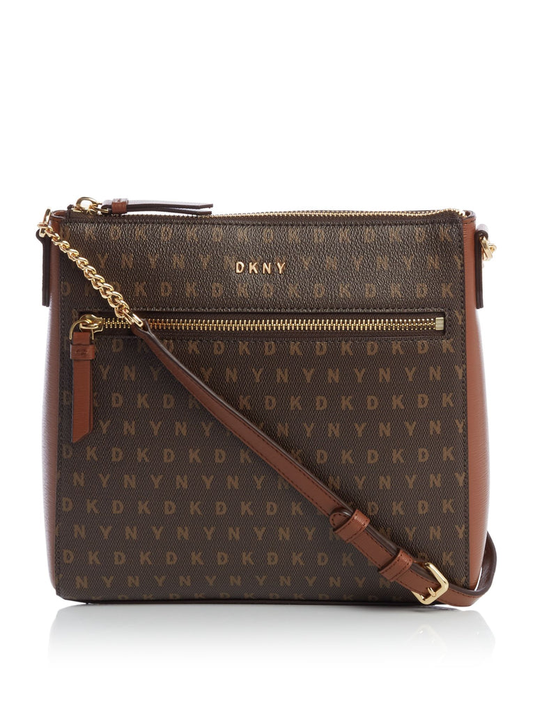 DKNY Coated Logo Top Zip Cross Body Bag- Brown