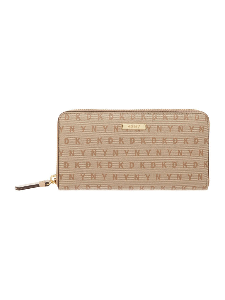 DKNY Coated logo large zip around purse- Multi-Coloured