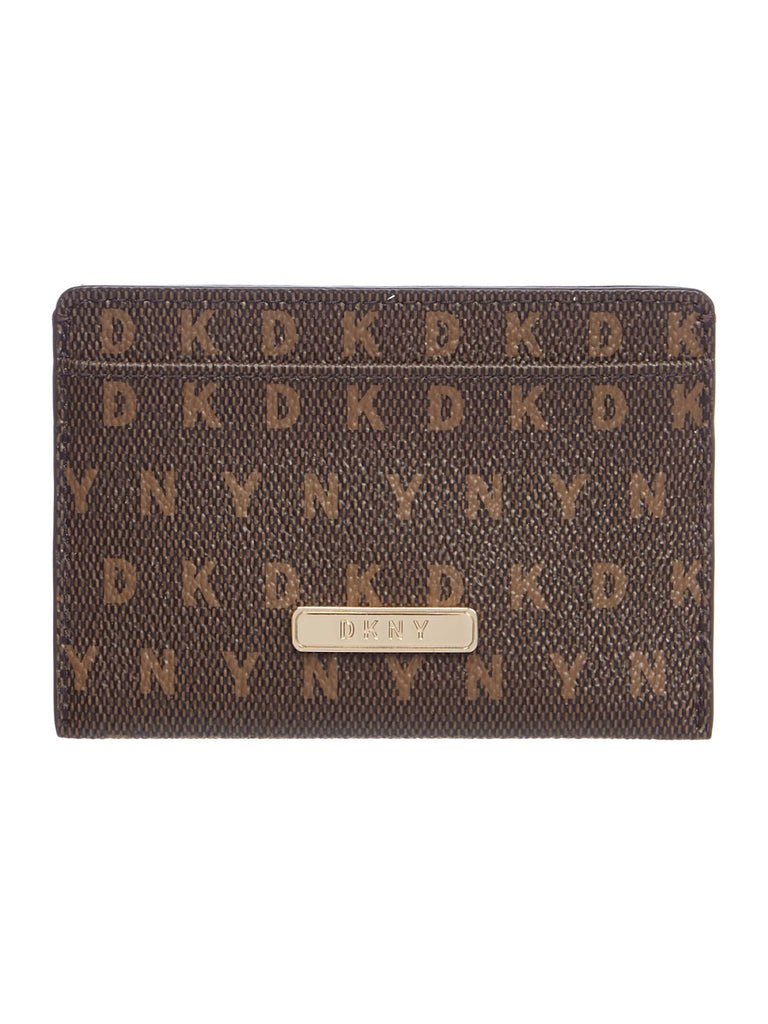DKNY Coated logo card holder- Brown