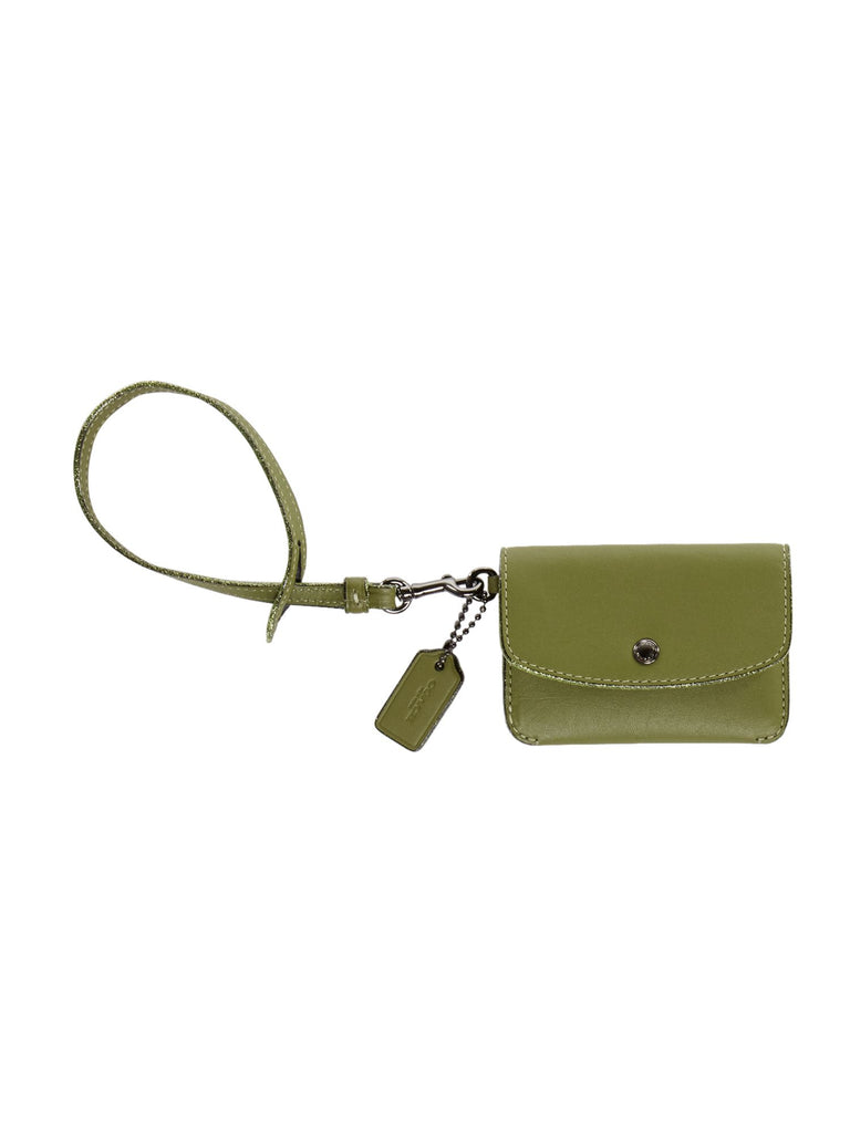 Coach Card Pouch With Tie Strap- Green