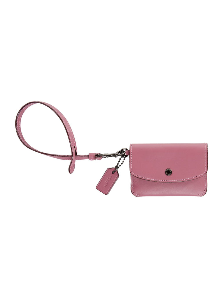 Coach Card Pouch With Tie Strap- Pink