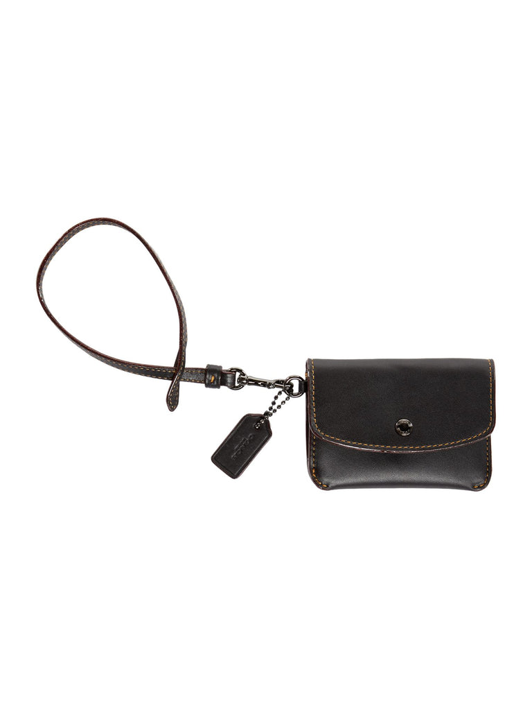 Coach Card Pouch With Tie Strap- Black
