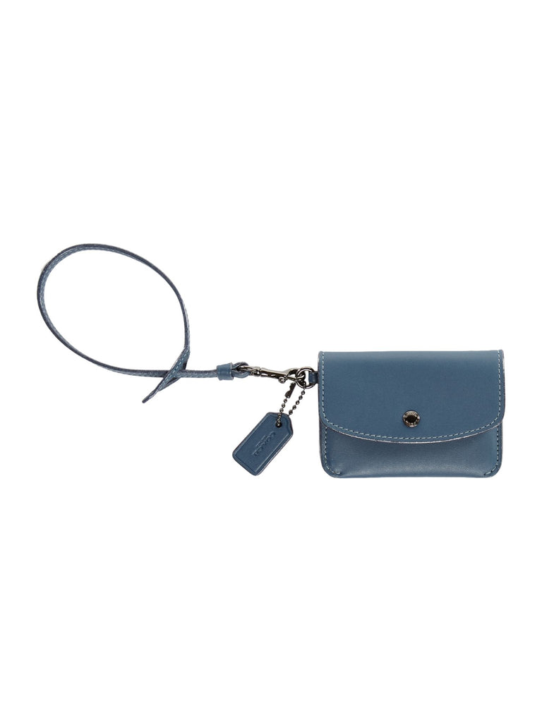 Coach Card Pouch With Tie Strap- Blue