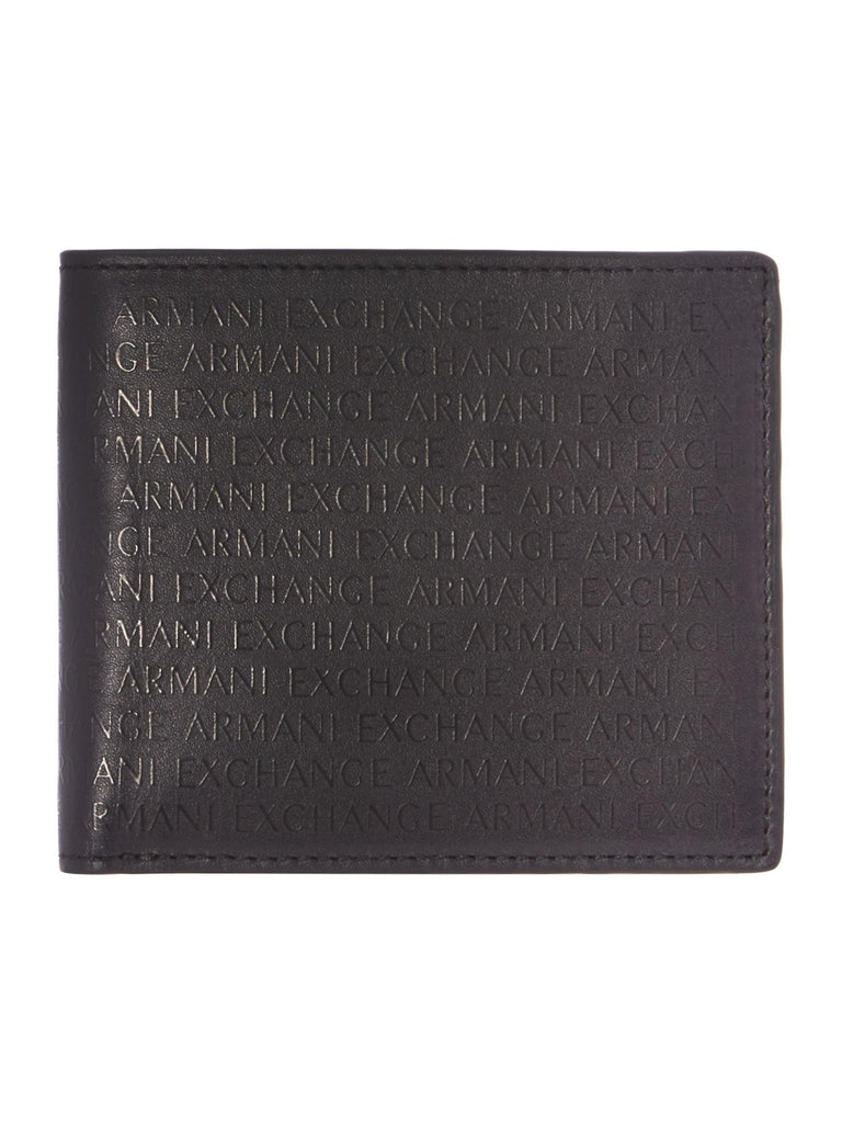 Armani Exchange All Over Print Coin Pocket Wallet- Black