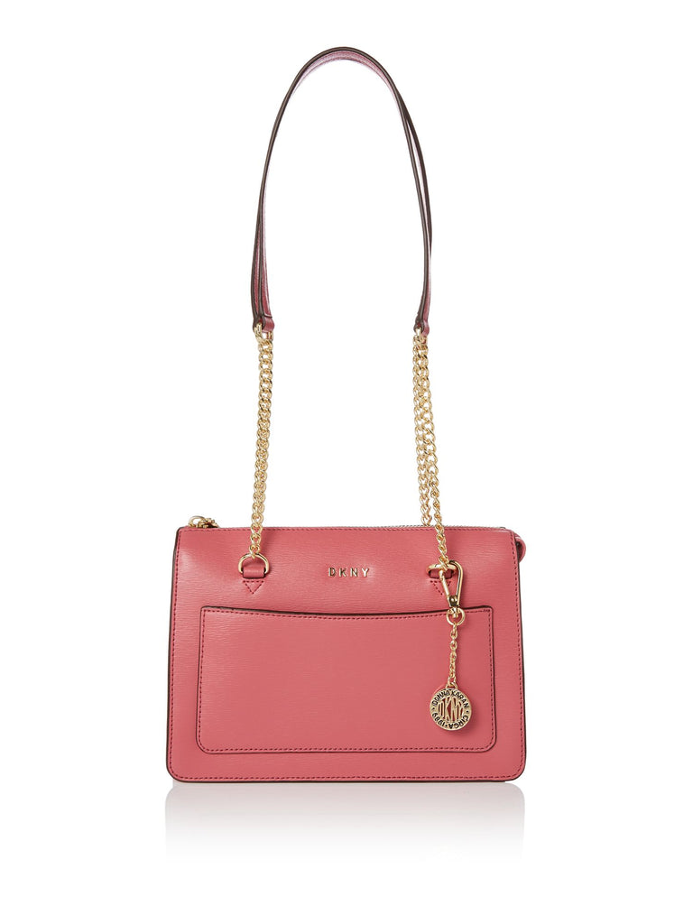 DKNY Sutton chain small top zip tote- Pink