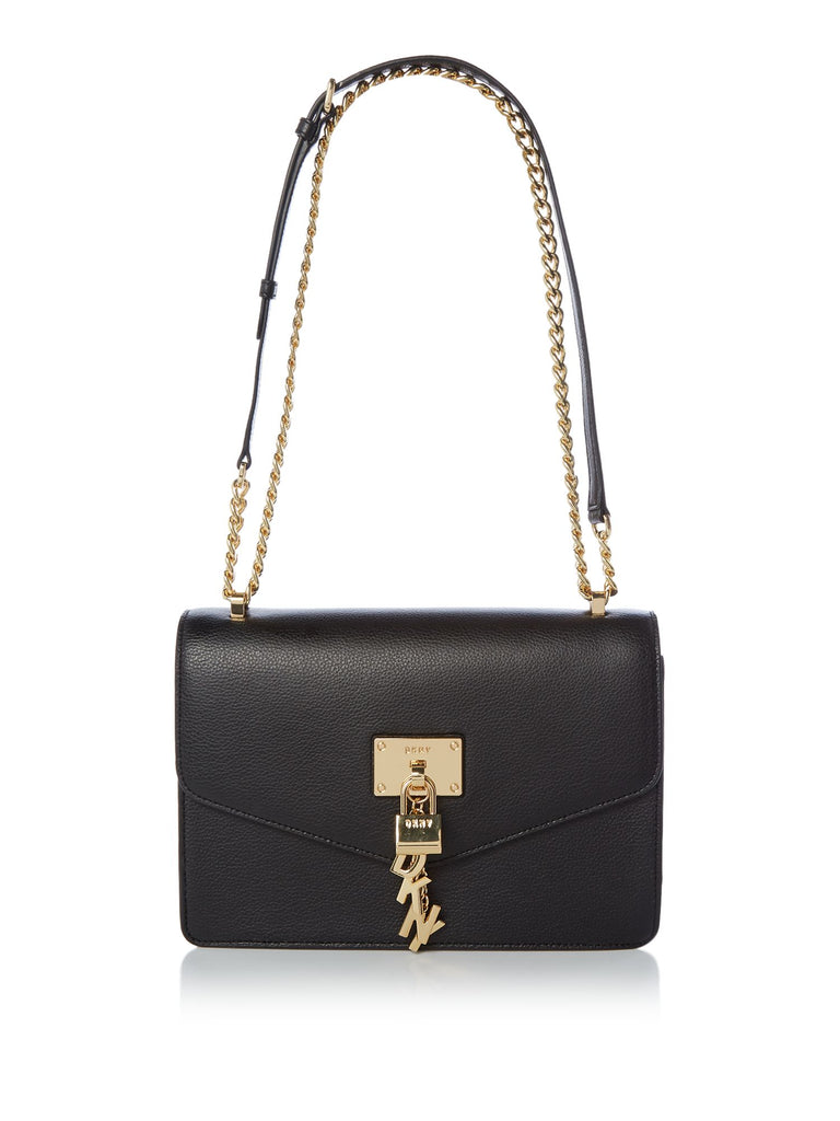 DKNY Elissa large shoulder tote with chain strap- Black