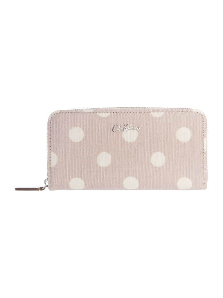 Cath Kidston Button spot continental zip purse- Taupe