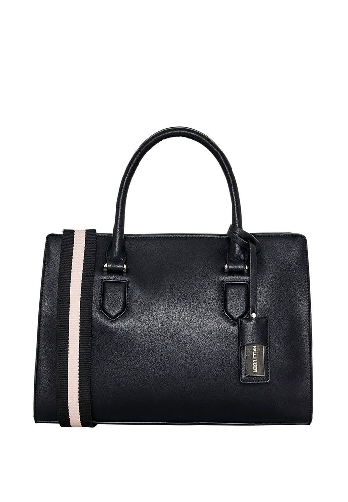 Hallhuber Handbag With Striped Strap- Black