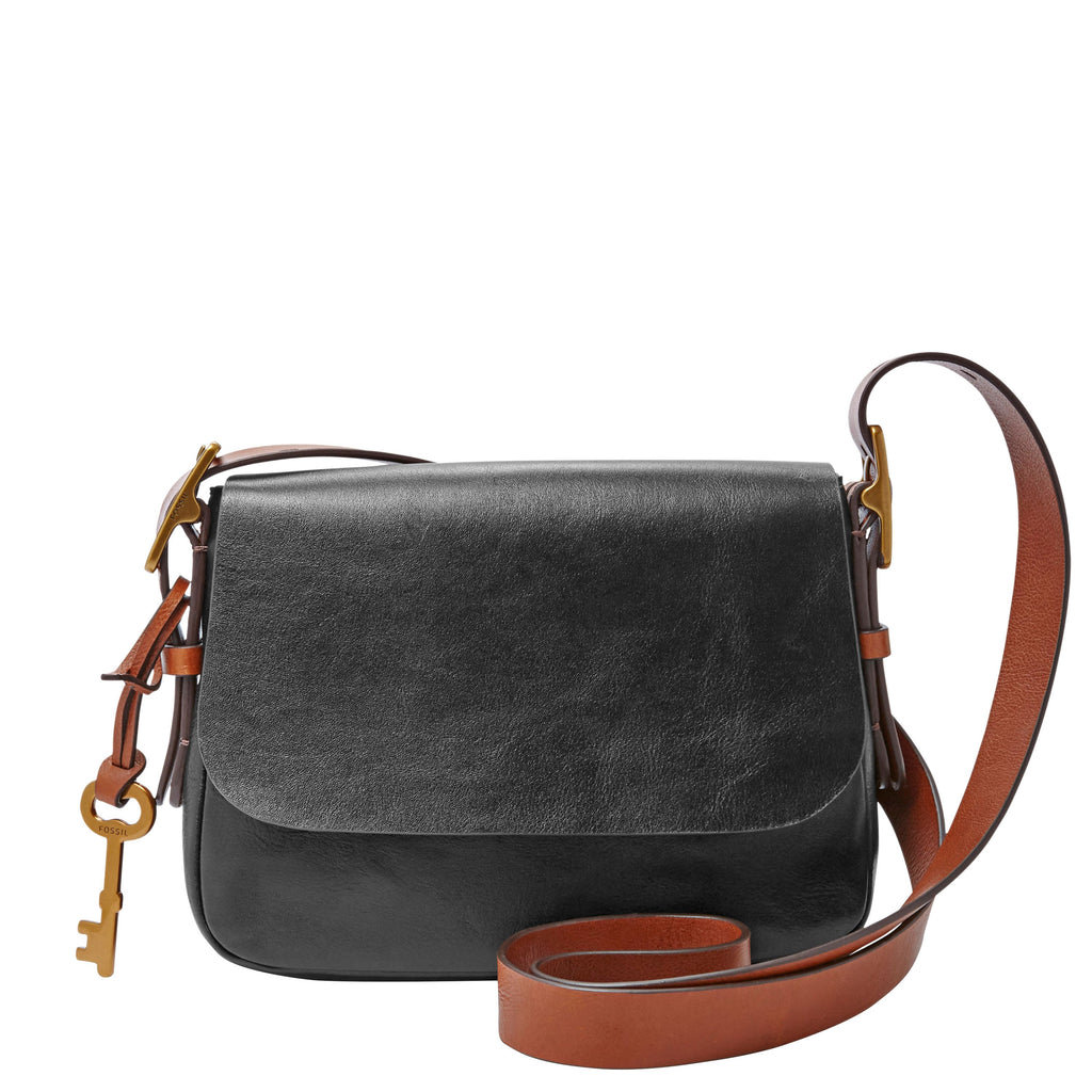 Fossil ZB6759001 ladies small saddle crossbody- Black