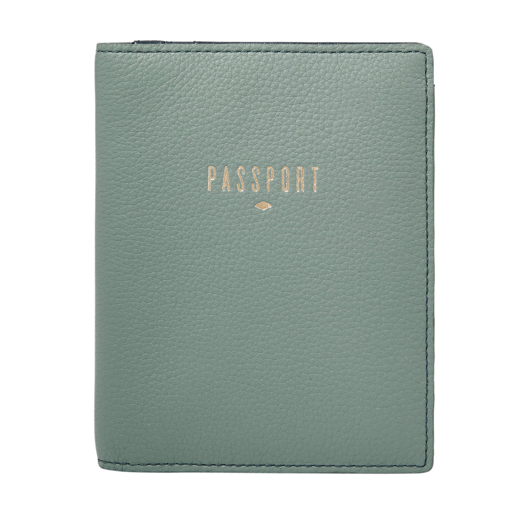 Fossil Rfid Leather Passport Case- Ice Blue