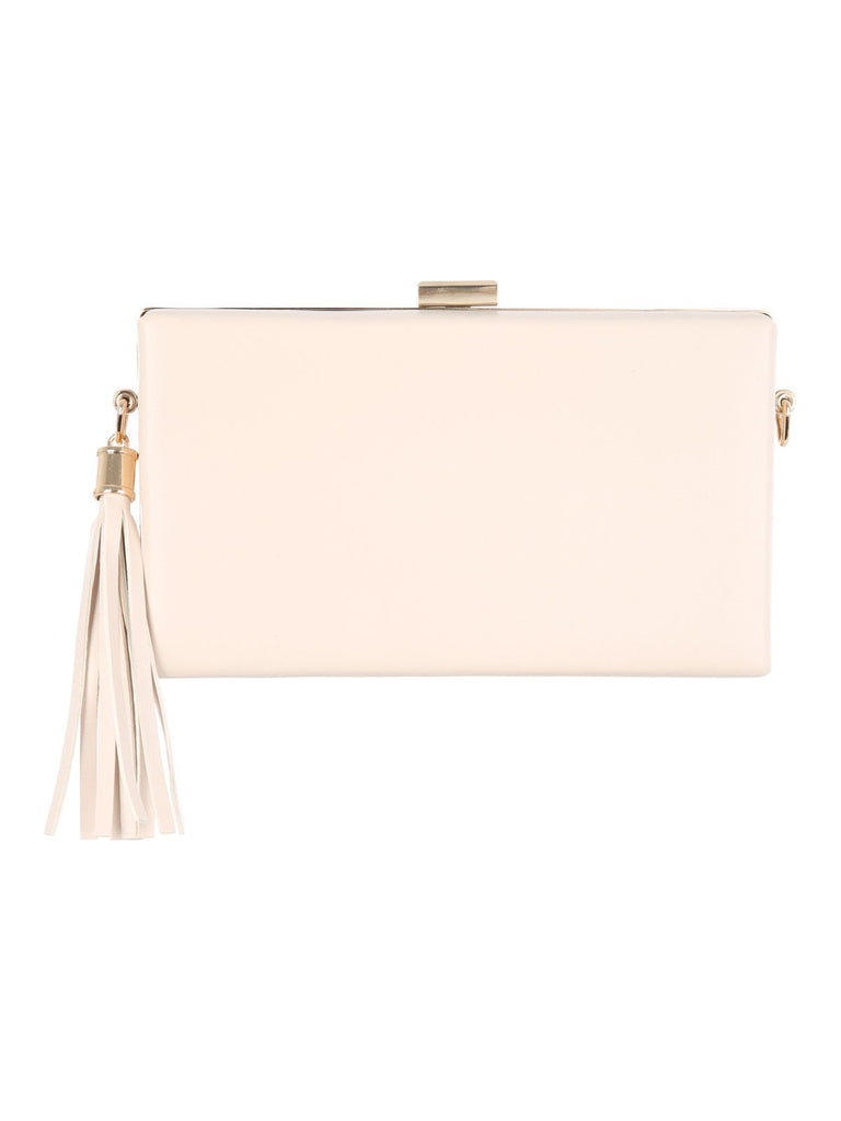 Jane Norman Cream Tassel Clutch Bag- Cream
