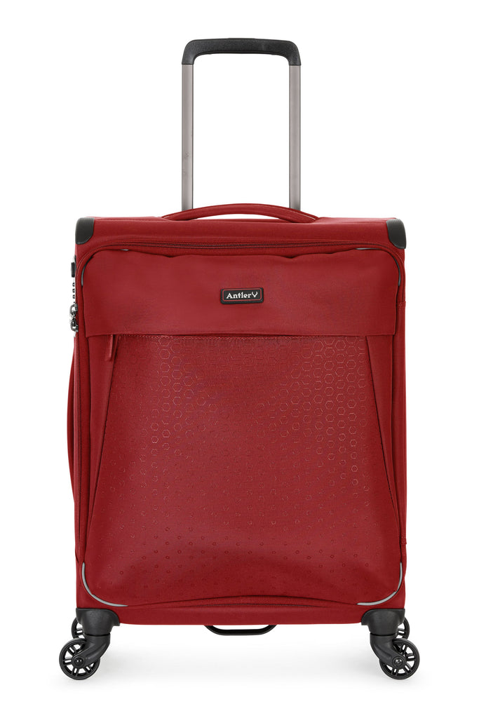 Antler Oxygen Red 4 Wheel Soft Cabin Suitcase- Red