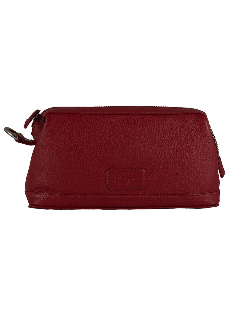 Dents Mens Leather Zip Top Wash Bag- Berry