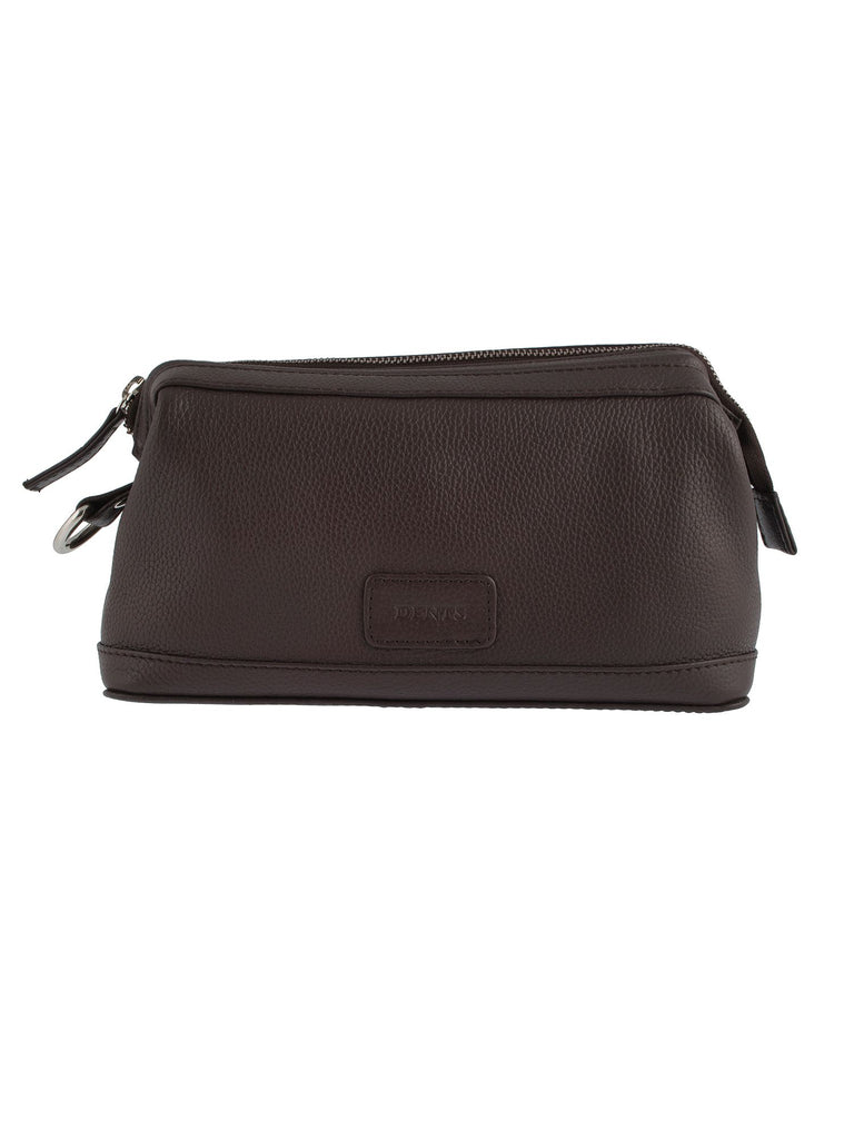 Dents Mens Leather Zip Top Wash Bag- Chocolate