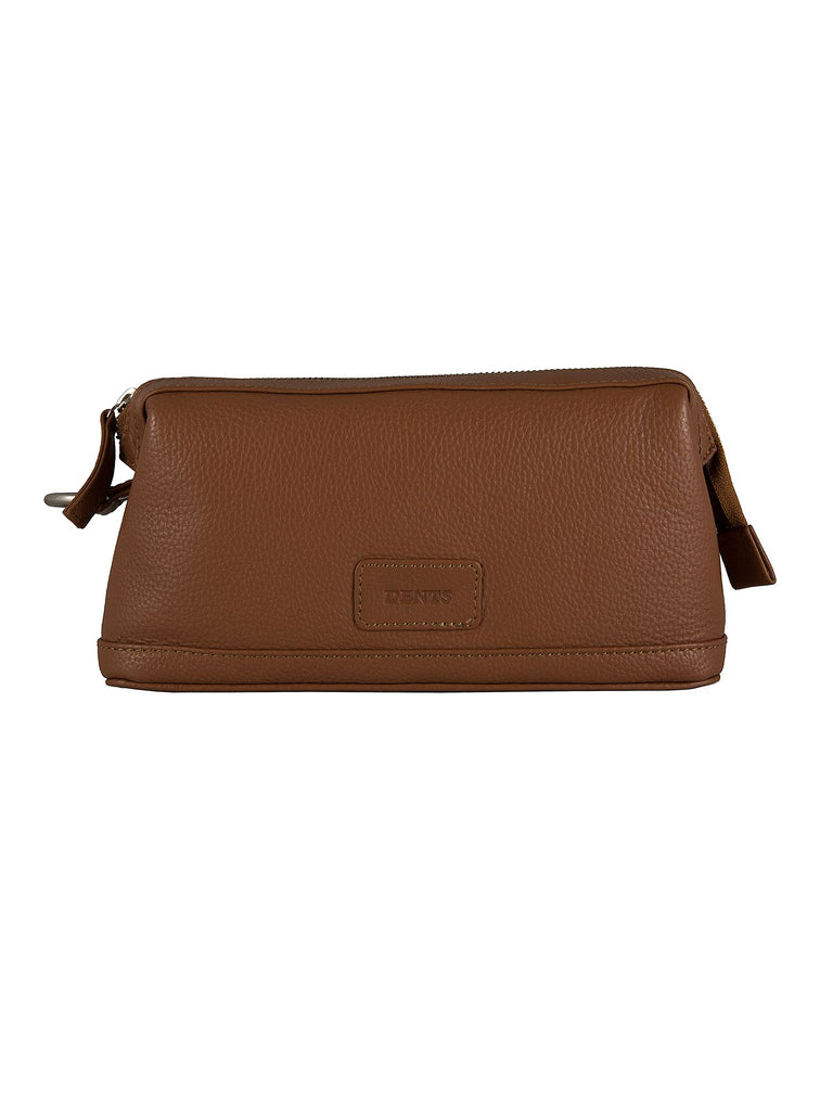 Dents Mens Leather Zip Top Wash Bag- Cognac