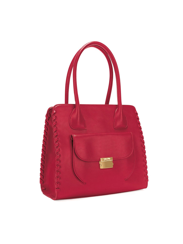 Folli Follie Fashion braid tote bag- Red