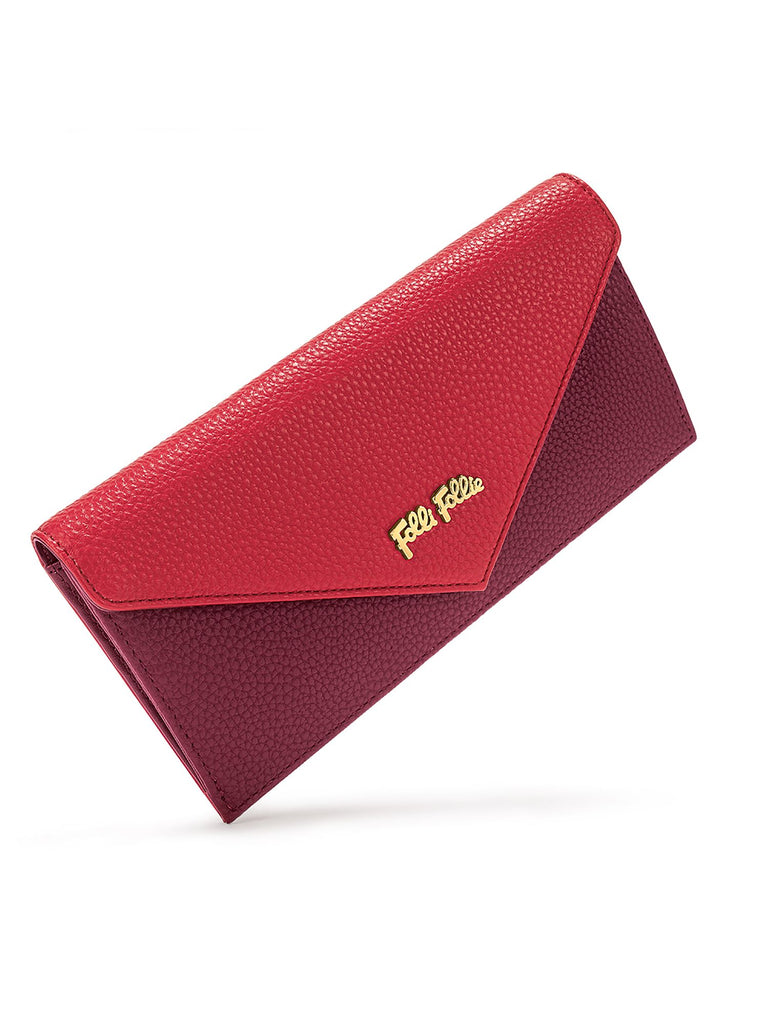 Folli Follie On The Go Burgundy Fold Wallet- Red