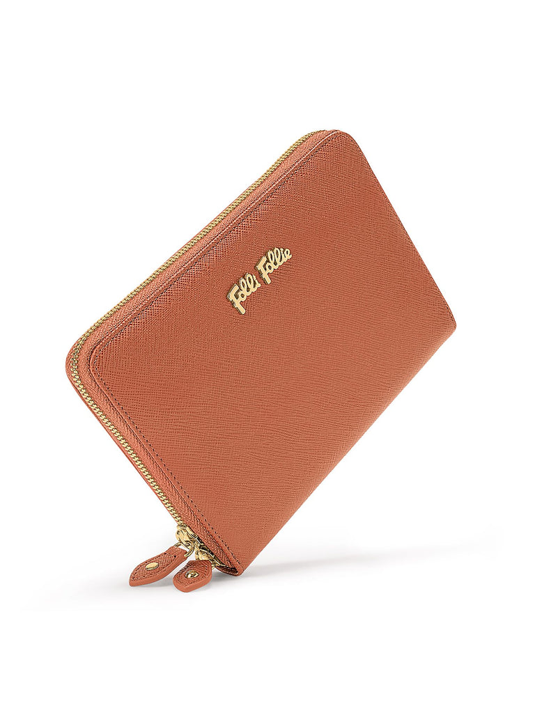 Folli Follie Saffiano Brown Zip Around Wallet- Brown
