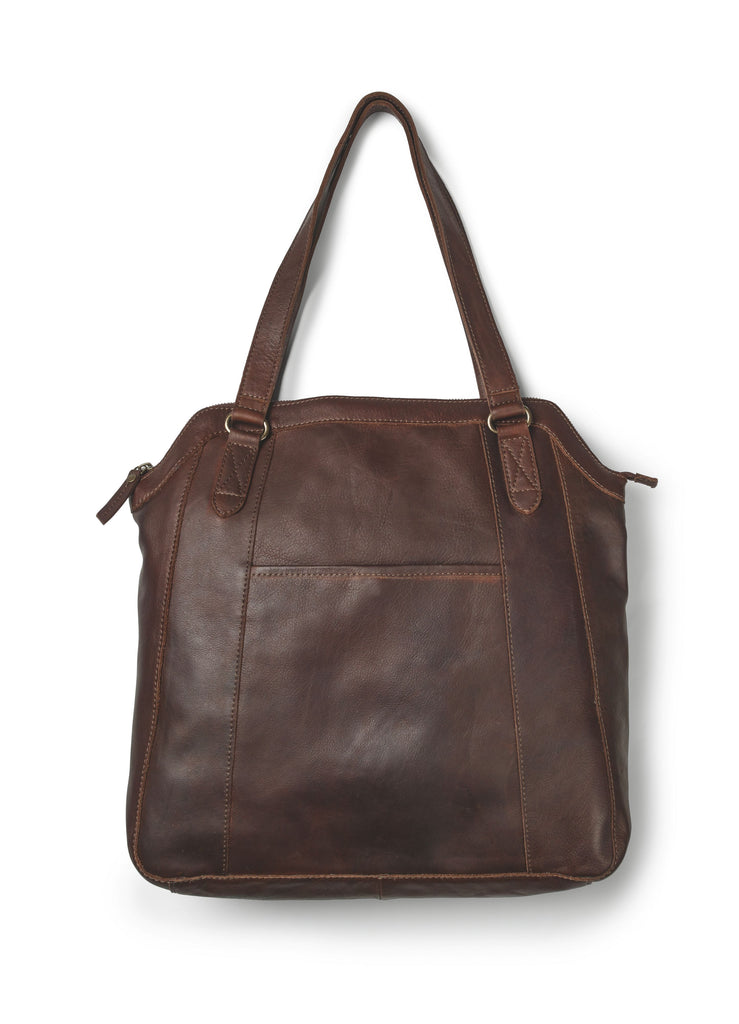 Fat Face Tilly Oiled Leather Tote- Chocolate