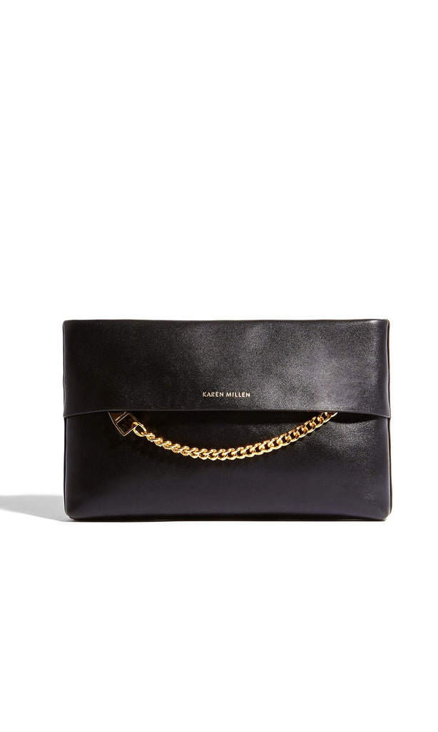 Karen Millen Chain Leather Clutch- Black