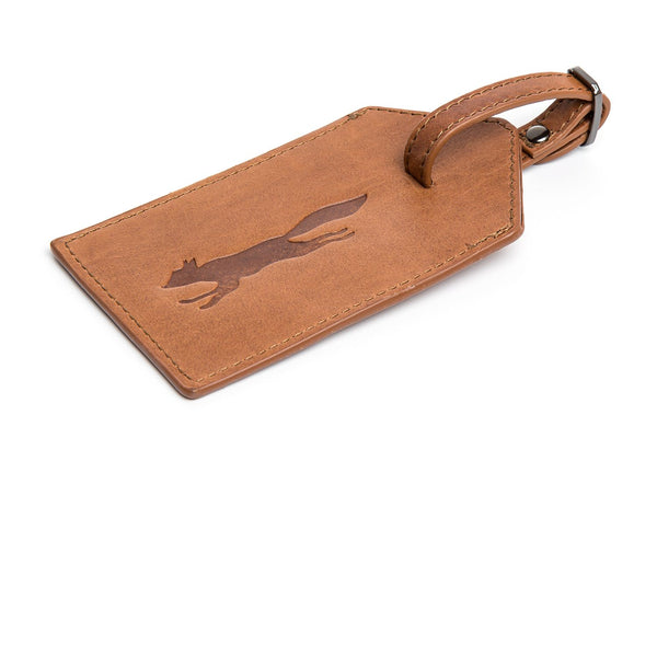 Paul Costelloe Tymon Leather Luggage Tag- Brown