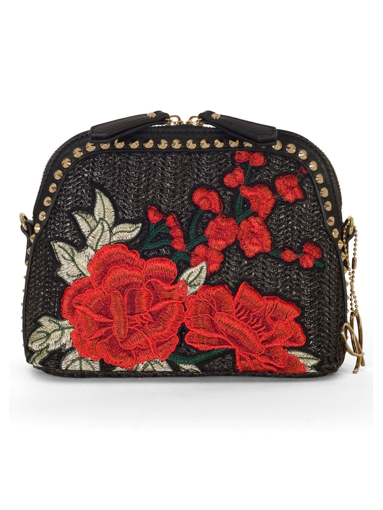 Chesca Rose Embroidered Shoulder Bag- Black