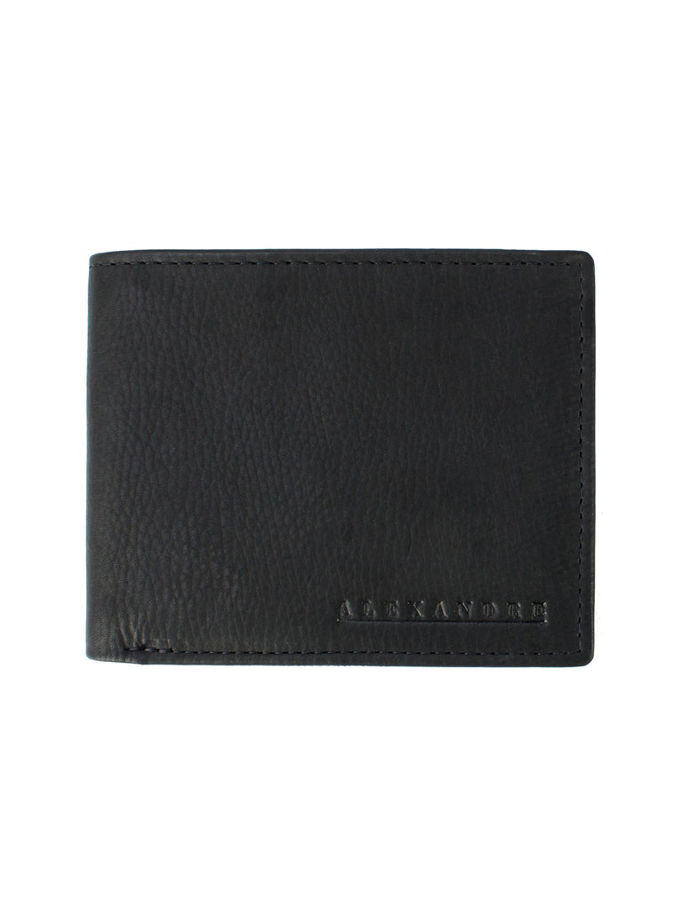Alexandre of England Percival Black Leather Bifold Wallet- Black