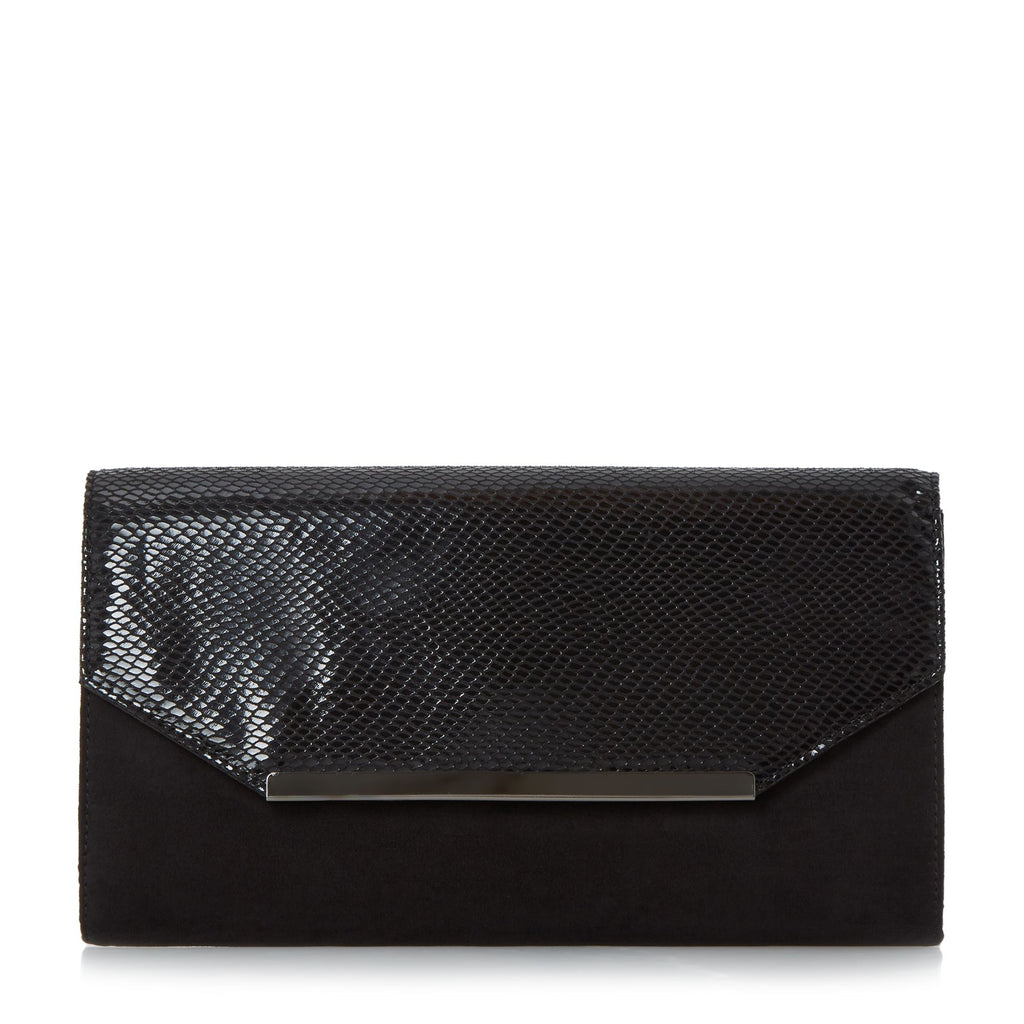 Head Over Heels Beebi material mix clutch bag- Black