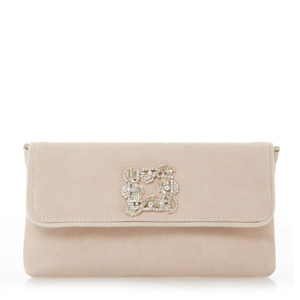 Dune Betsey foldover trim clutch bag- Nude