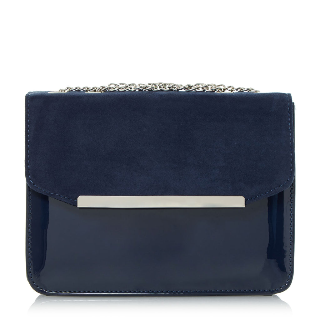 Head Over Heels Betsi Mix Material Square Clutch Bag- Blue
