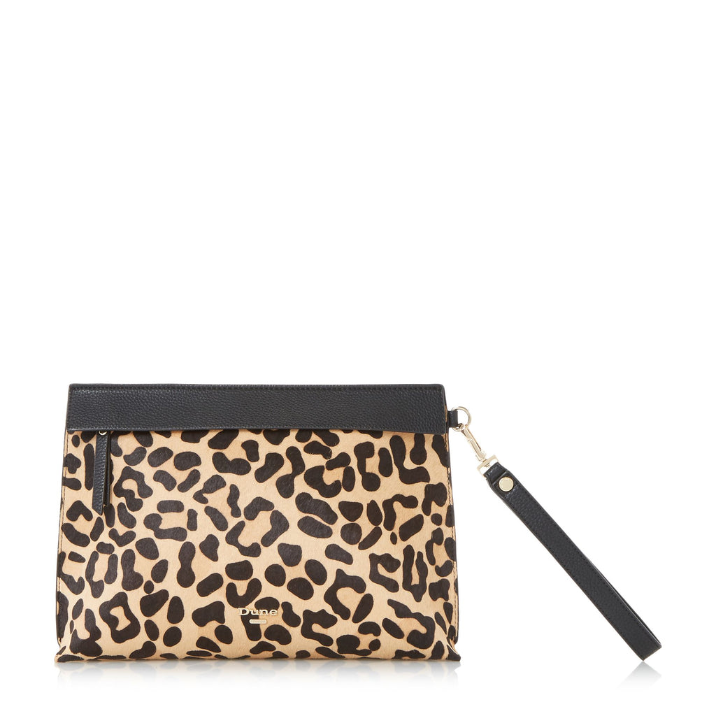 Dune Eharriet front zip clutch bag- Leopard