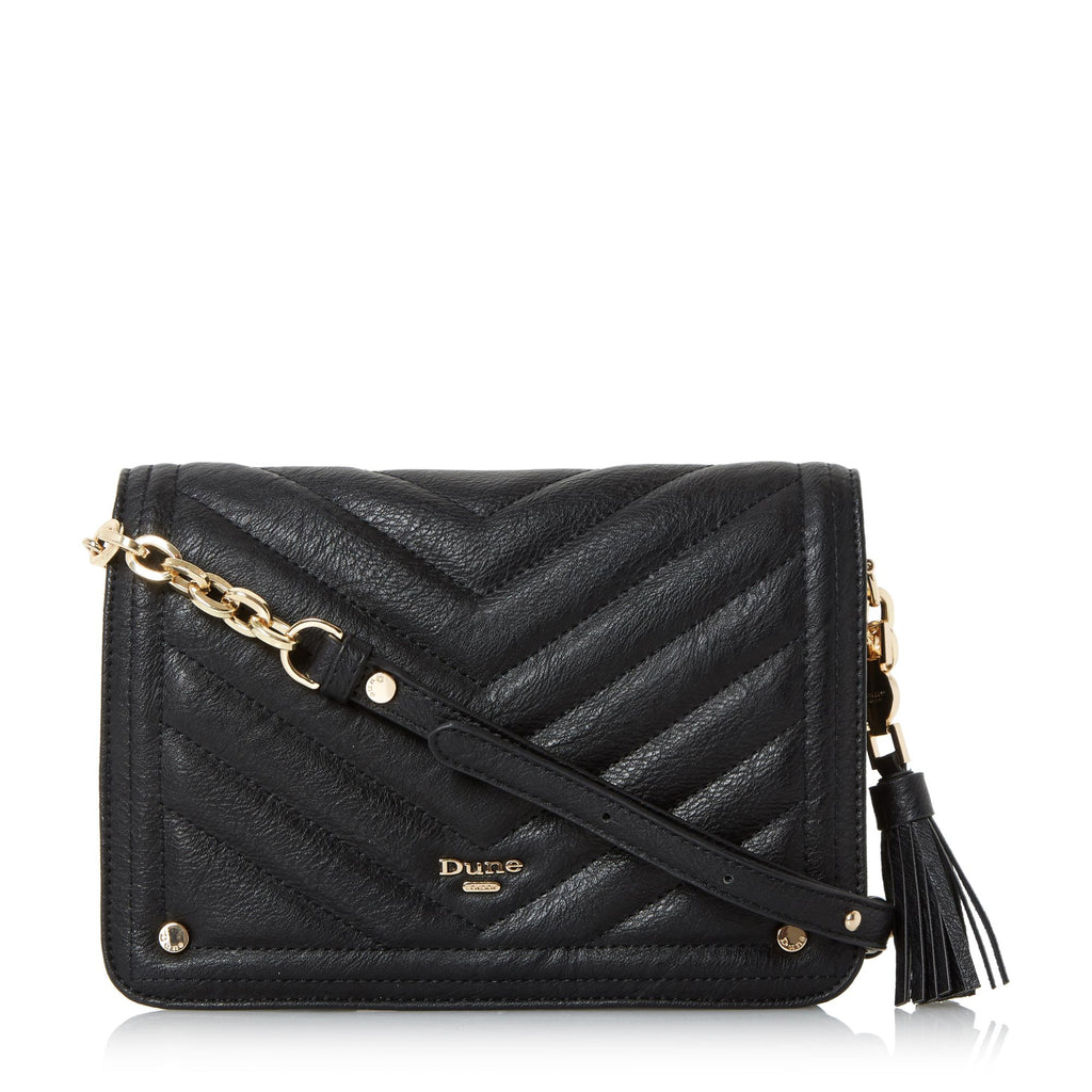 Dune Dathy Quilted Crossbody Bag- Black