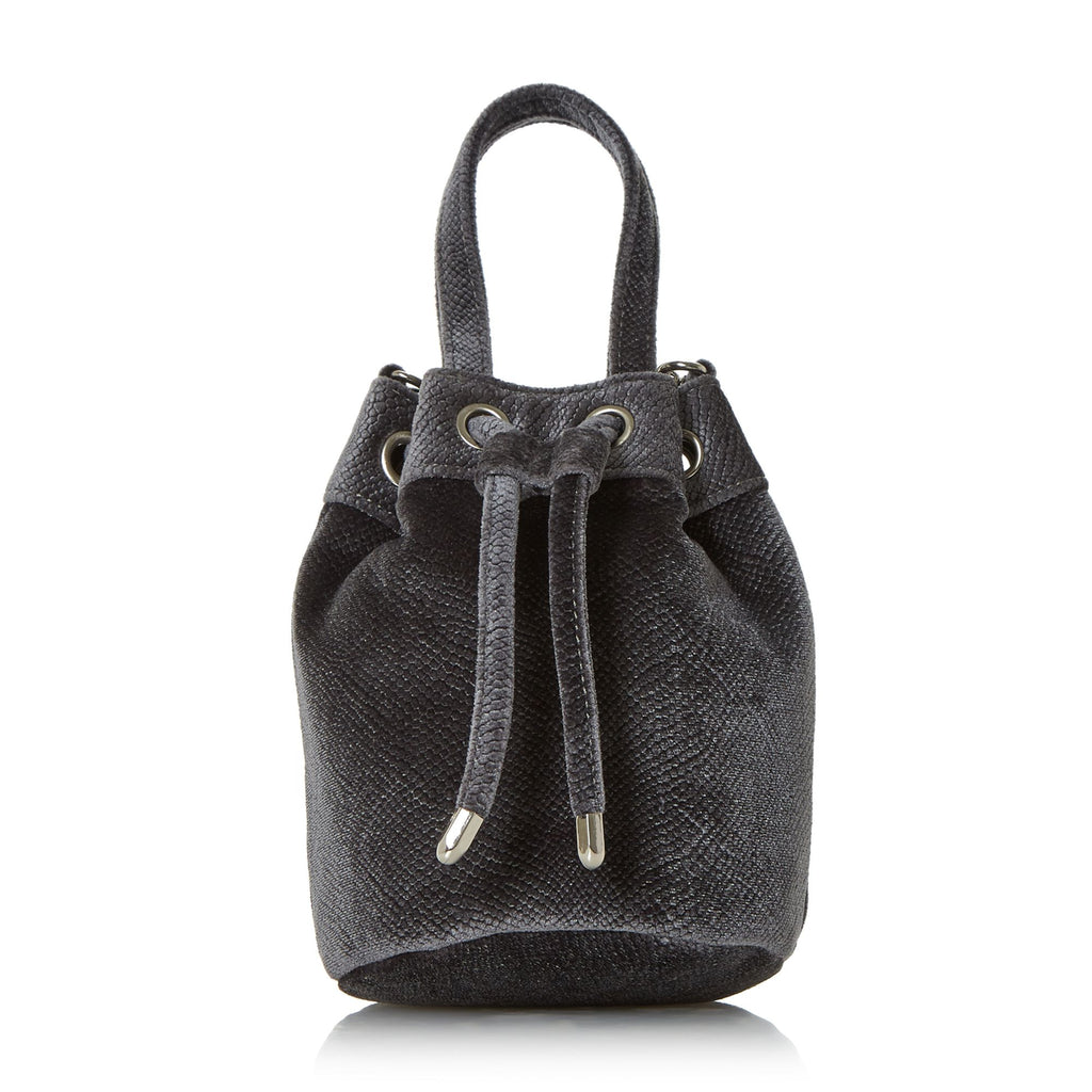 Head Over Heels Borough Small Velvet Bucket Bag- Grey