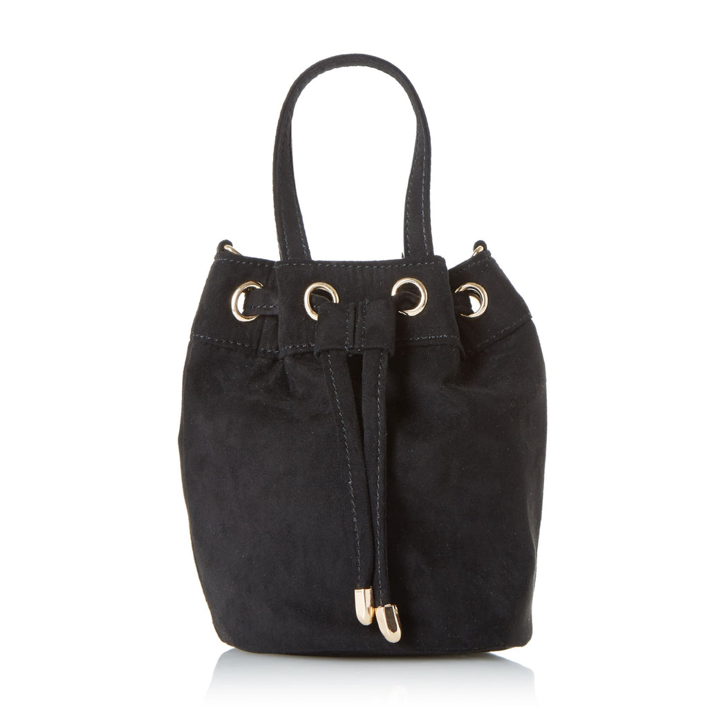 Head Over Heels Borough Small Velvet Bucket Bag- Black
